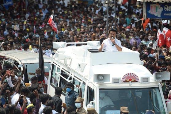 Muthuvel Karunanidhi Stalin wenige Tage vor der Wahl
