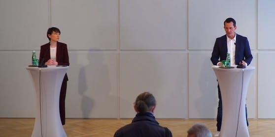 Gesundheits- und Sozialminister Wolfgang Mückstein (Grüne) und Klubobfrau Sigrid Maurer (Grüne)