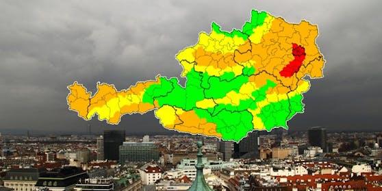 Sturm-Warnung für Wien, Niederösterreich und das Burgenland.
