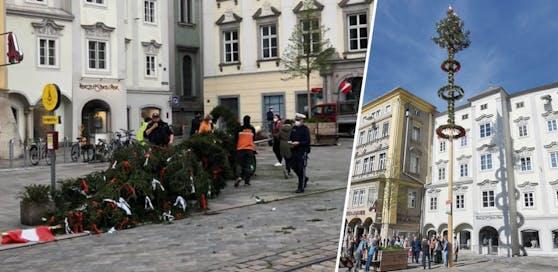 Der Linzer Maibaum stand nicht lange am Hauptplatz. Eine junge Gruppe aus Neufelden hat ihn gestohlen.