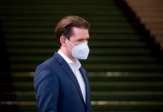 Bundeskanzler Sebastian Kurz (ÖVP) mit FFP2-Maske.