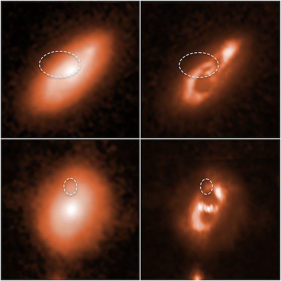 Links Hubble-Schnappschüsse zweier Galaxien. Bei den Bildern rechts wurde ihre Struktur anhand der gesammelten Daten hervorgehoben. Eingekreist sind die Regionen aus denen FBRs gemessen wurden.