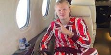 Wäsche-Fail: Haaland jettet im Pyjama nach Monaco