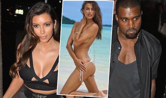 Irina Shayk ist die Nachfolgerin von Kim Kardashian (l.) bei Rapper Kanye West