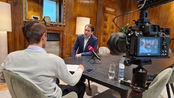 Bundeskanzler Sebastian Kurz (VP) im Gespräch mit Heute.at-Chefredakteur Clemens Oistric
