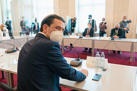 Sebastian Kurz, am Freitag bei der großen Öffnungs-Konferenz im Kanzleramt.