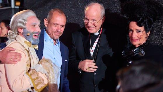 Conchita Wurst, Gery Keszler, Kardinal Christoph Schönborn und Dagmar Koller