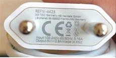 Bei diesem USB-Ladegerät besteht Stromschlaggefahr