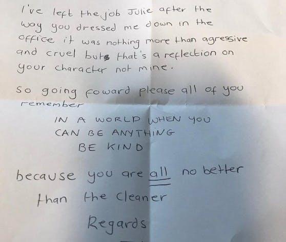 Diesen frechen Abschiedsbrief hinterließ die anonyme Putzfrau ihrer gemeinen Chefin.