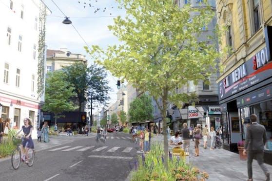 Im Sommer 2020 präsentierten die Grünen diesen Entwurf für die Neugestaltung der Reinprechtsdorfer Straße.