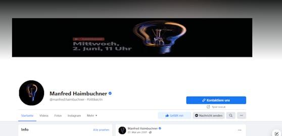 Ungewohntes Bild auf Haimbuchners Facebook-Seite.