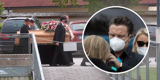 Stefan Mross bei der Beerdigung seiner ermordeten Tante und Cousine in Salzburg.
