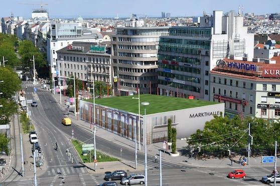 """Im Streit um die Errichtung einer Markthalle am Naschmarkt schlägt die FPÖ Wien nun einen alternativen Standort vor: Der Christian Broda-Platz am Ende der """"MaHü"""". So könnte diese aussehen."""