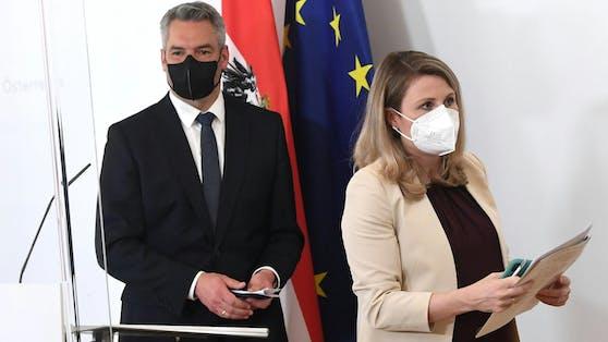 Innenminister Karl Nehammer und Kanzleramtsministerin Susanne Raab