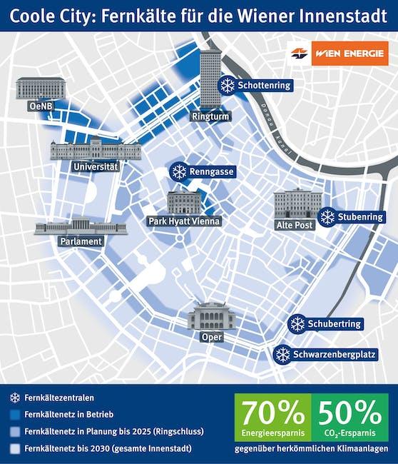 Bis 2025 soll der Fernkältering fertig sein. Ab dann versorgen fünf Fernkältezentralen die City mit erfrischender Kühle.