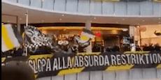 Schwedische Fußballfans stürmen Einkaufszentrum