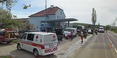Explosion bei Tankstelle– Mann per Heli ins Spital