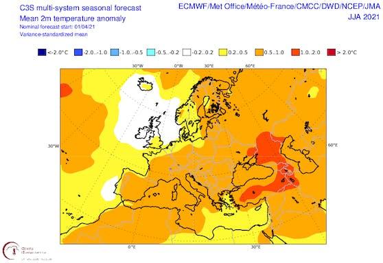 Prognose der Temperaturanomalien über Europa im kommenden Sommer
