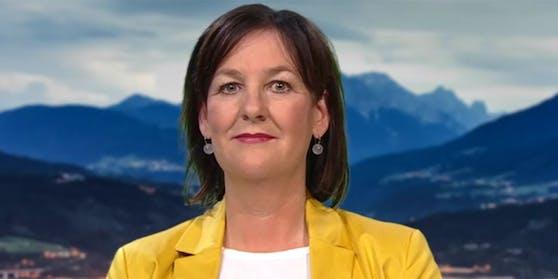 """Andrea Haselwanter-Schneider, Abgeordnete zum Tiroler Landtag und Klubobfrau der Liste Fritz in der ORF-""""ZiB 2""""."""