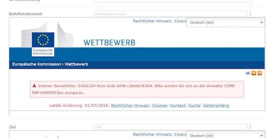EU-Datenbank zeigt Serverfehler statt Coronahilfen.