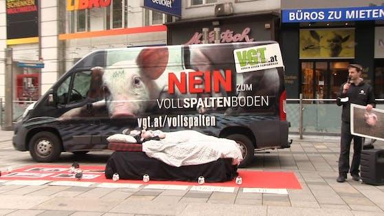 VGT-Aktion gegen Vollspaltenboden auf der Mariahilfer Straße
