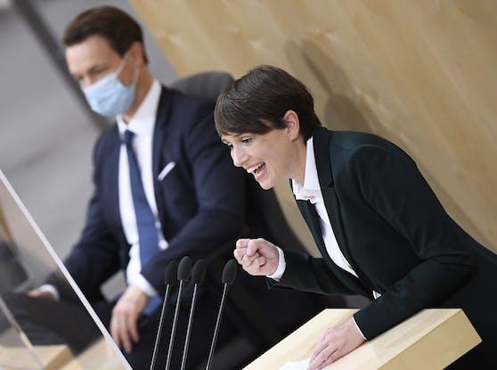Sigrid Maurer und FInanzminister Blümel (Archivfoto)