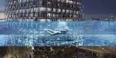Schwerelos! Transparenter Pool in 35 Metern Höhe