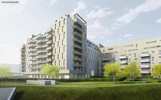 Die Neubauten sind mit einander verbunden und bestehenen aus 7-geschössigen Höfen.