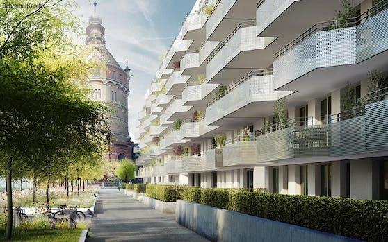 Direkt beim Wasserturm nördlich vom Wienerberg entstehen 550 neue Wohnungen.