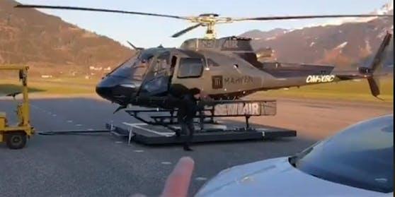 Voller Einsatz beim Livestream: Sogar ein Hubschrauber hob ab.