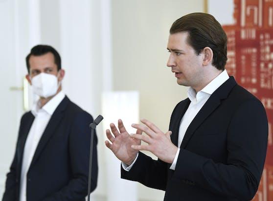 Bundeskanzler Sebastian Kurz und Gesundheitsminister Wolfgang Mückstein, hier am 27. April 2021.