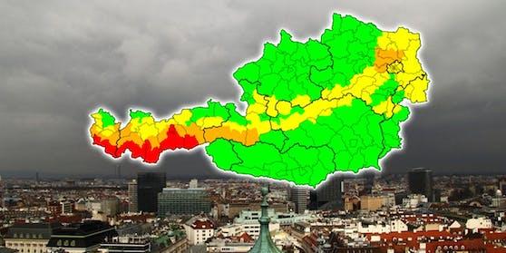 Vom Westen her breitet sich der Sturm in Österreich aus.
