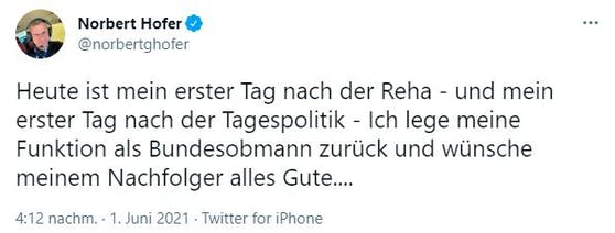 Norbert Hofer verkündete den Rücktritt – und löschte den Tweet dann wieder.