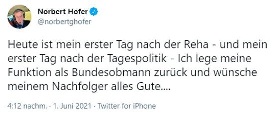Norbert Hofer Rücktritt Tweet