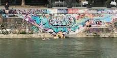Wiener hüpfen in den Donaukanal mitten in der City