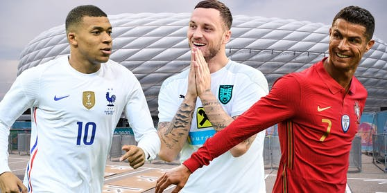 Kylian Mbappe, Marko Arnautovic und Cristiano Ronaldo.
