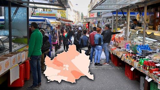 Die neue Geheheim-Karte für Wien zeigt, wo die Corona-Fälle zuletzt wieder anstiegen.
