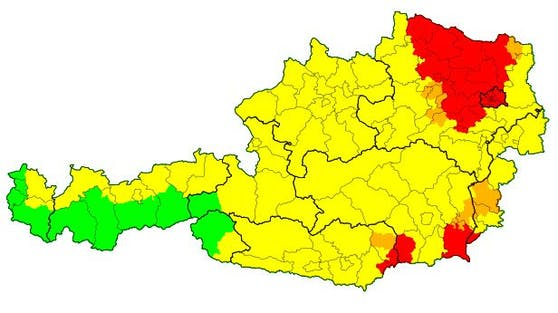 Die aktuelle Unwetterwarnungen, Stand 13.10 Uhr, für Österreich