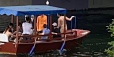 Wiener fahren trotz roter Unwetterwarnung nackt Boot