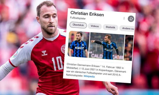 Christian Eriksen wurde auf Wikipedia für tot erklärt