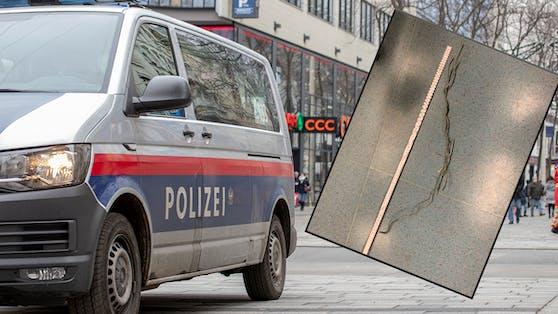 Polizisten ertappten einen 23-Jährigen dabei, wie er gerade versuchte, auf der Mariahilfer Straße mit einem Draht (kleines Bild) einen Handy-Automaten zu knacken.