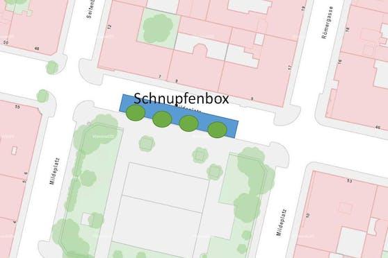 """Das Siegerprojekt """"Schnupfenboxen zu Freiflächen"""" will die Flächen für die Begrünung und Abkühlung der Grätzl nutzen."""