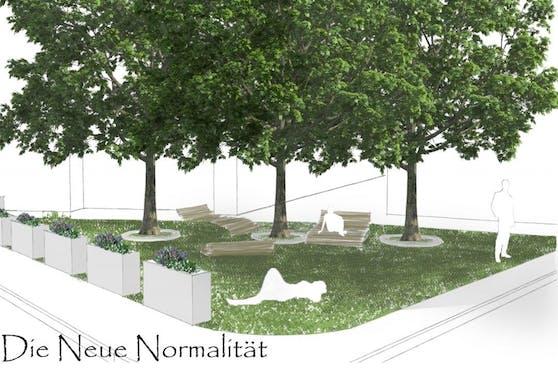 """Neuer Rasen und Liegeflächen soll im dichtverbauten Margareten eine """"neue Normalität"""" schaffen."""