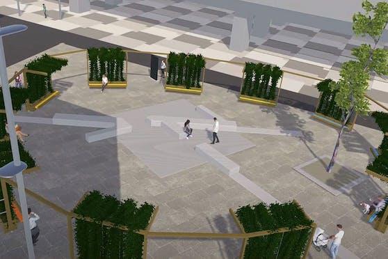 Ein Ring aus elf Pflanztrog-Bank-Modulen sollen den Vorplatz der U-Bahnstation Seestadt (Donaustadt) grüner machen.