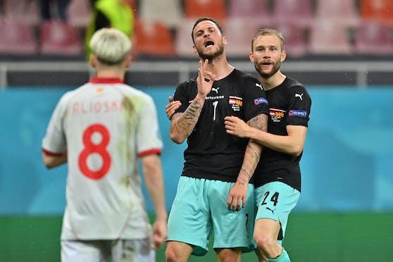 Marko Arnautovic mit der Schimpftirade nach dem Torjubel.