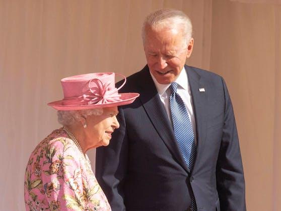 Windsor, United Kingdom. Queen Elizabeth II mit US Präsident Joe Biden und seiner Frau Jill während ihrem Besuch im Windsor Castle