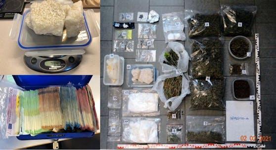 Die sichergestellten Drogen und Bargeld