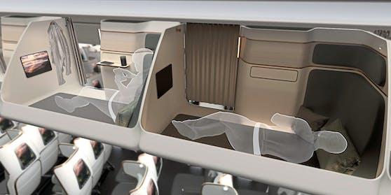 So sollen die Schlafkapseln in den Flugzeugen der Zukunft aussehen.