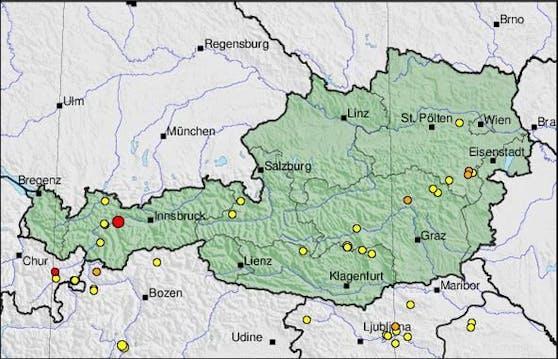 Im Raum Telfs kam es am Montagabend zu einem Erdbeben der Stärke 2,8.