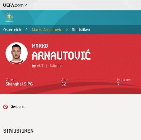 Marko Arnautovic – auf dem UEFA-Profil wird er als gesperrt geführt.